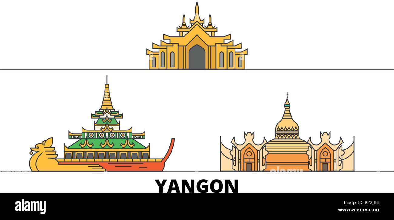 Myanmar, Yangon flat landmarks vector illustration. Myanmar, Yangon line city with famous travel sights, skyline, design.  - Stock Vector