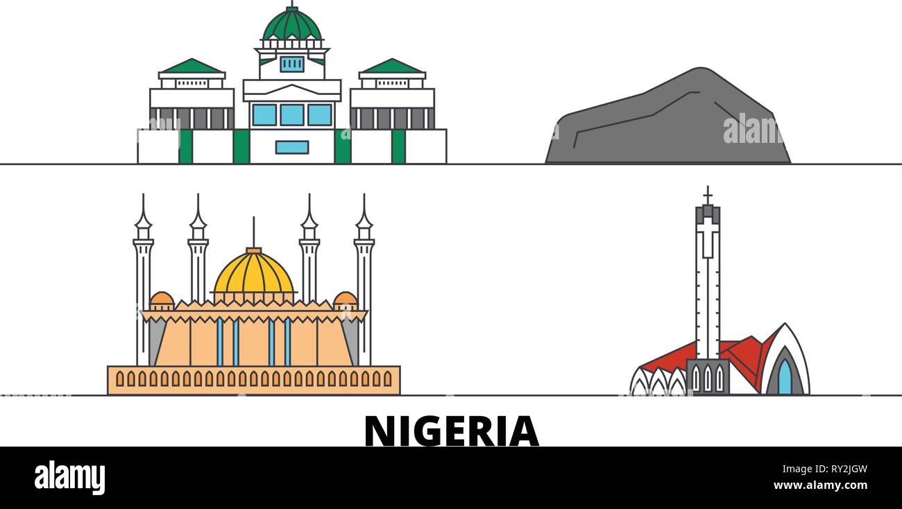 Nigeria flat landmarks vector illustration. Nigeria line city with famous travel sights, skyline, design.  - Stock Vector