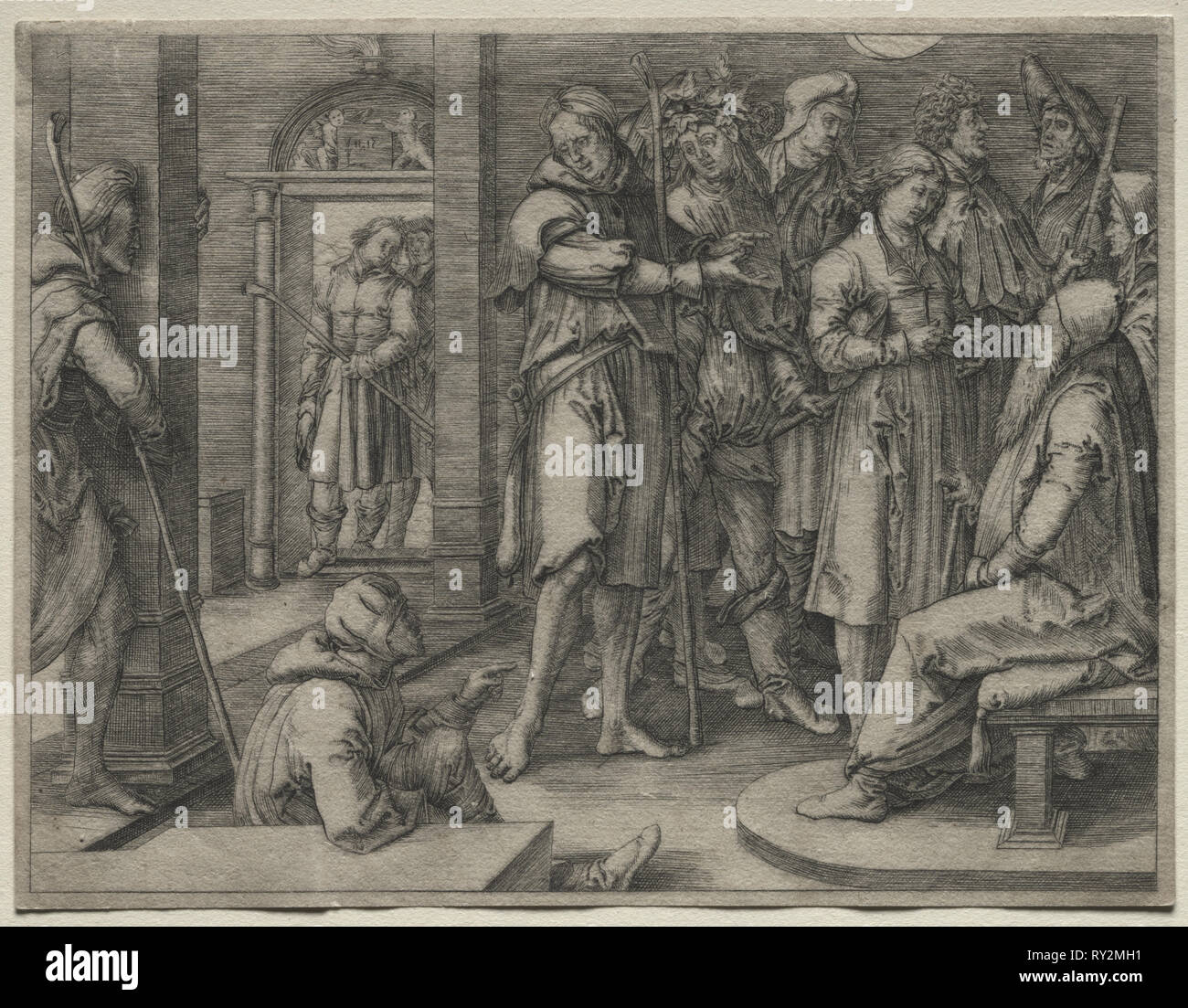 The Story of Joseph:  Joseph Interprets his Dream to Jacob, 1512. Lucas van Leyden (Dutch, 1494-1533). Engraving - Stock Image