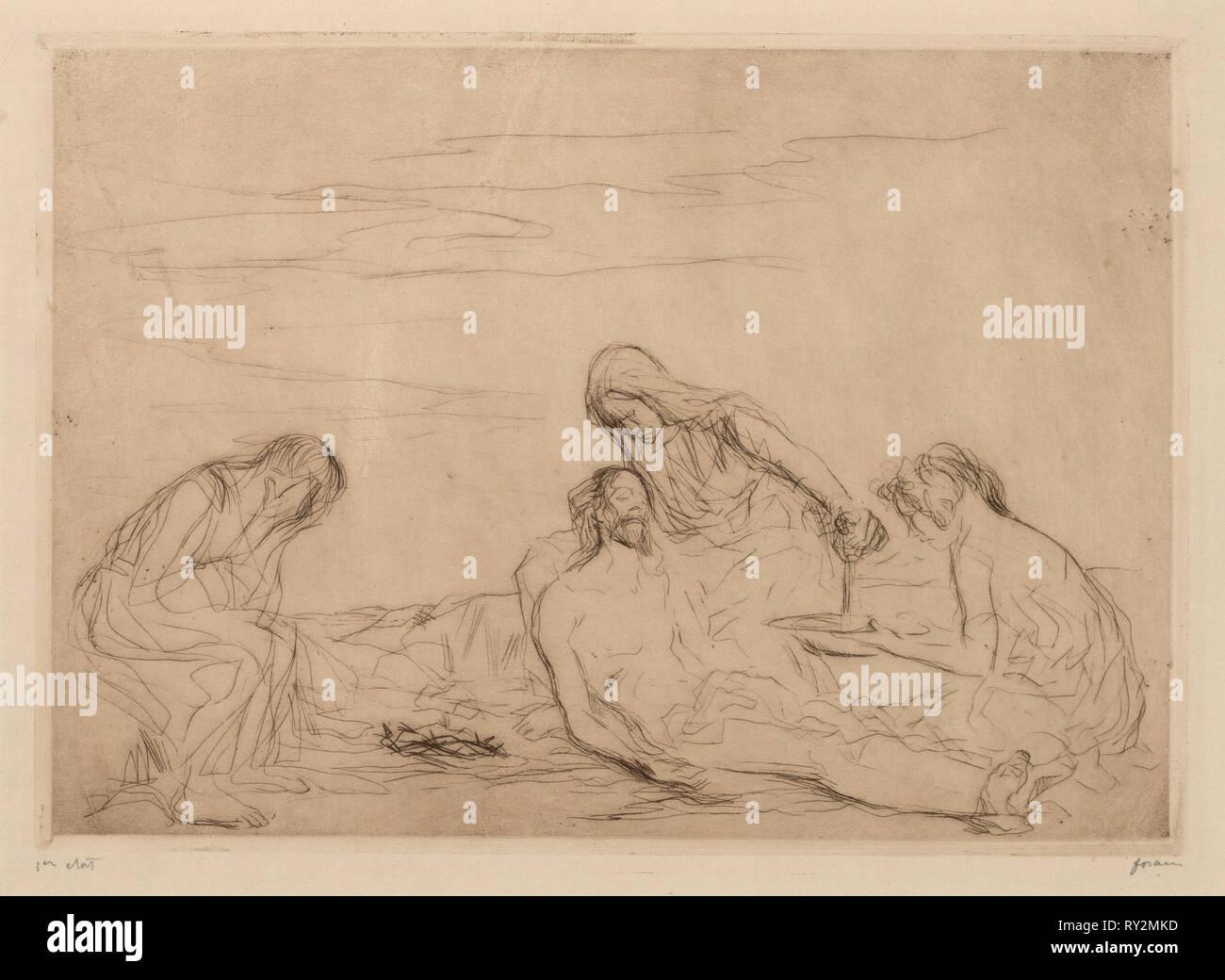 Pieta. Jean Louis Forain (French, 1852-1931). Etching - Stock Image