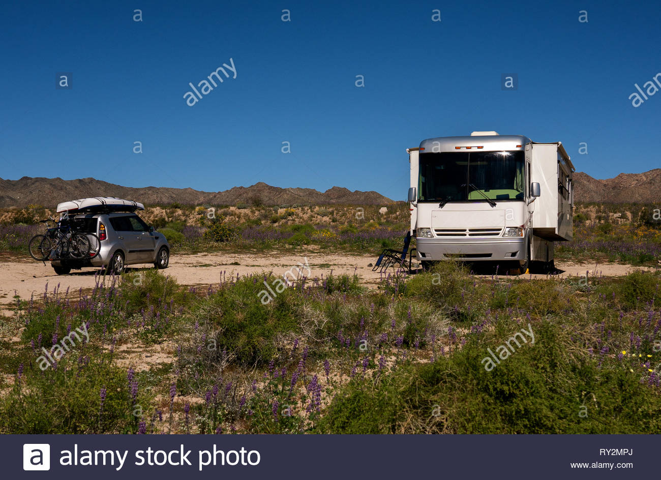 Camping In The Joshua Tree National Park Stock Photo