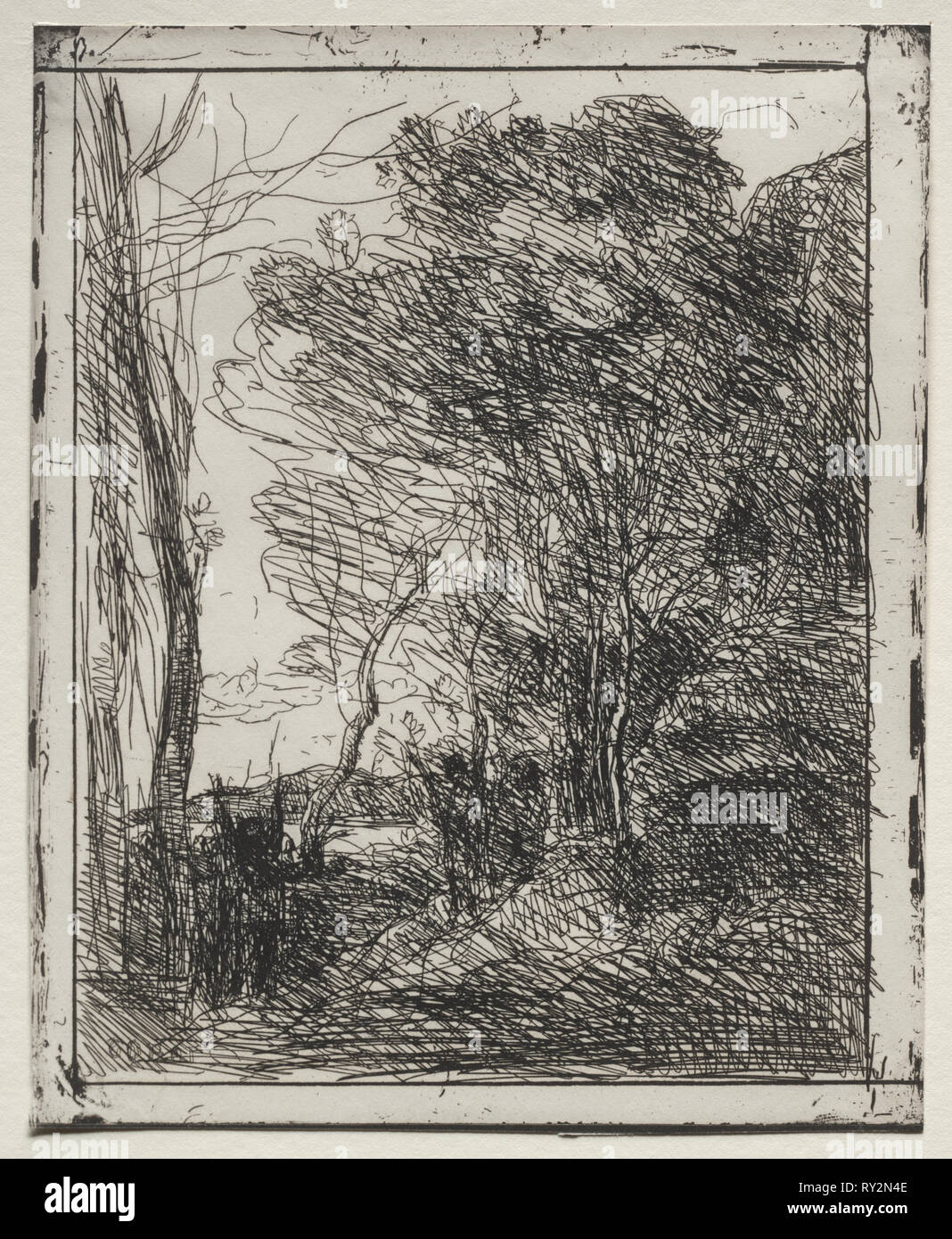 The Gallic Round, original impression 1857, printed in 1921. Jean Baptiste Camille Corot (French, 1796-1875). Cliché-verre; sheet: 20 x 16.3 cm (7 7/8 x 6 7/16 in.); image: 18.4 x 14.4 cm (7 1/4 x 5 11/16 in - Stock Image