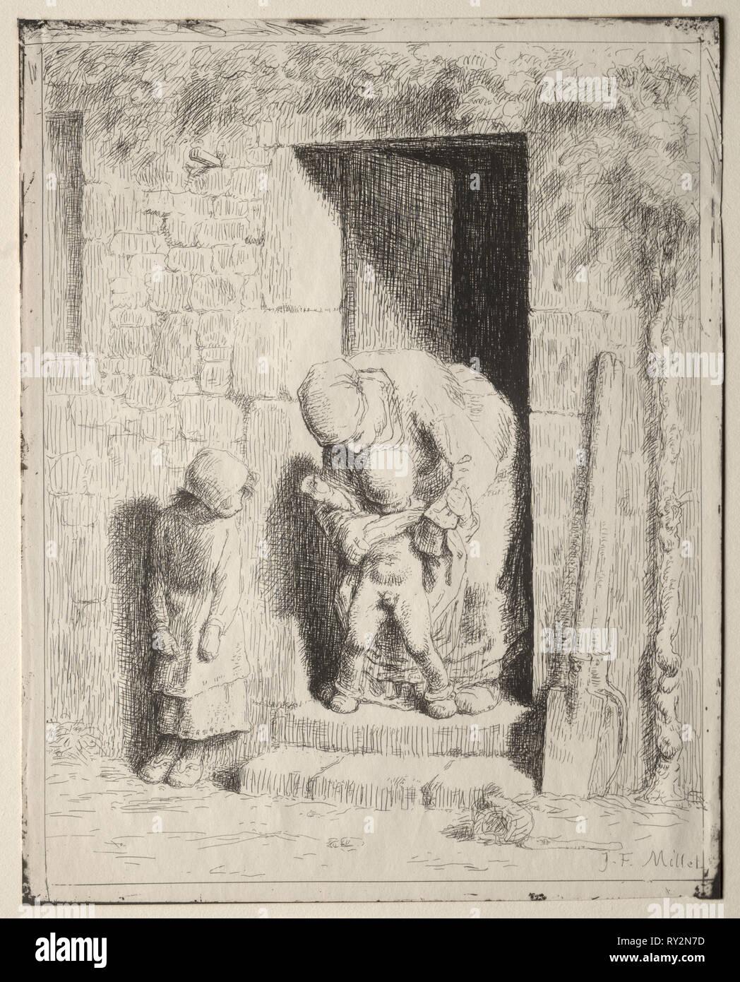 Maternal Precaution. Jean-François Millet (French, 1814-1875). Cliché-verre - Stock Image
