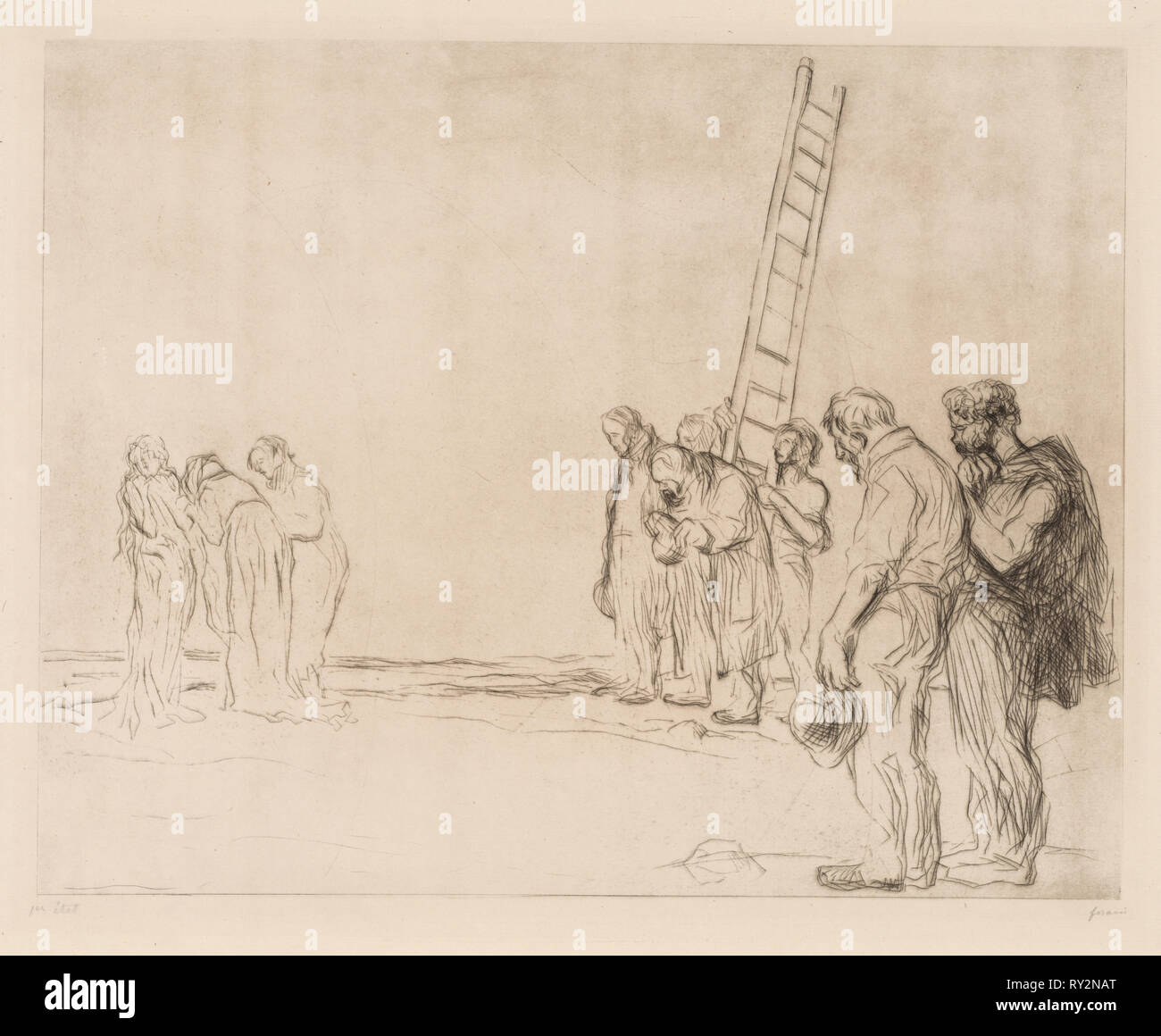 Calvary. Jean Louis Forain (French, 1852-1931). Etching - Stock Image