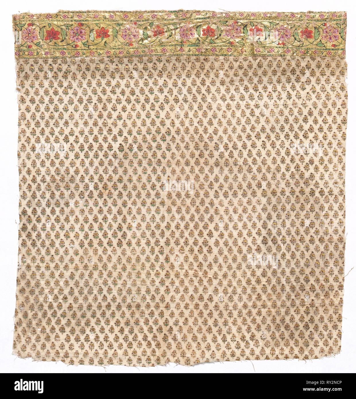 Fragment of a Draped Garment worn by Members of Court for Festive Occasions, late 1700s or early 1800s. India, late 18th or early 19th century. Block printed and painted with pigments and gold leaf on cotton; overall: 28.3 x 27.3 cm (11 1/8 x 10 3/4 in - Stock Image