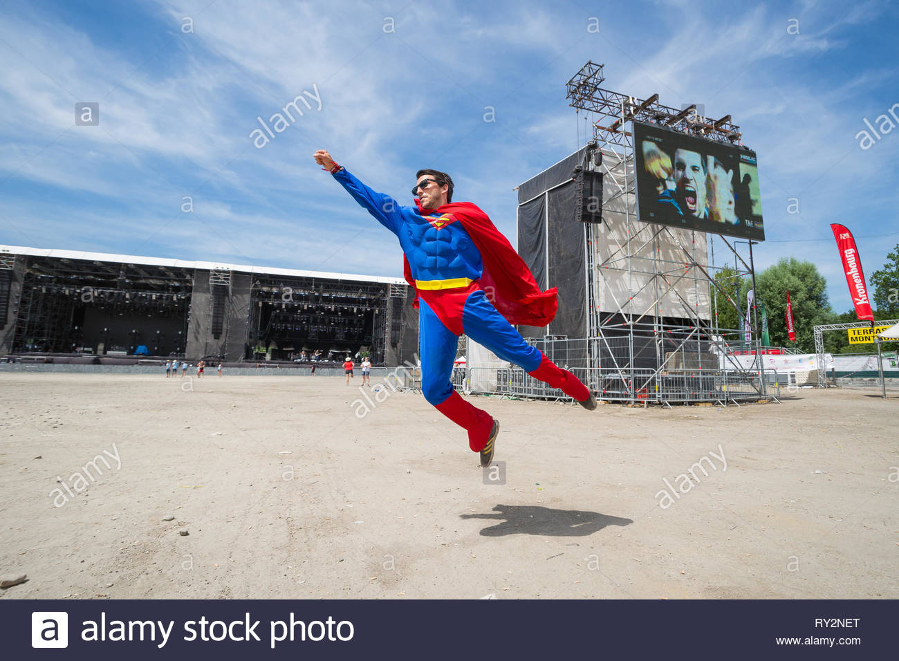 Superman supervising Musilac sumer festival - Stock Image
