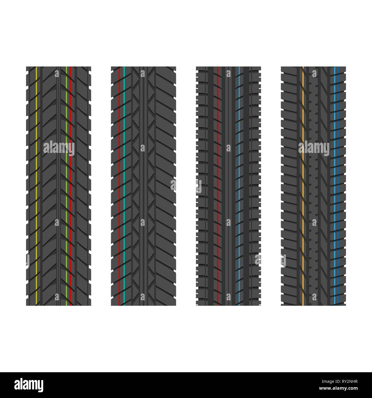Four different tire tracks with color lines isolated on white background Stock Vector