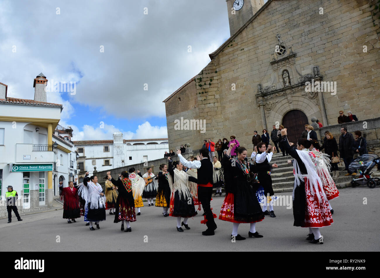 Malpartida de Caceres, Spain - February 15, 2015: Feast of the Patatera with traditional dresses and regional dances Stock Photo