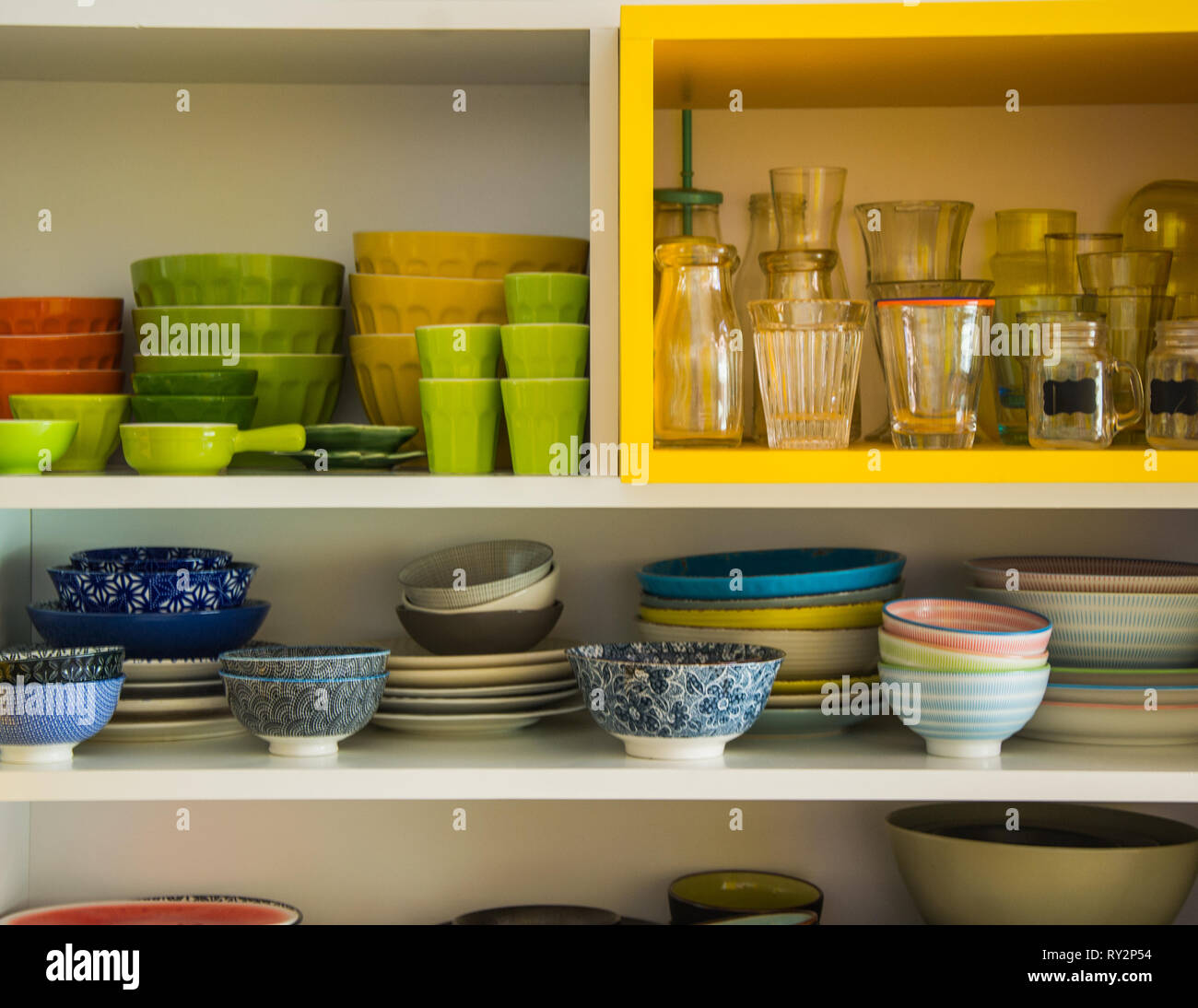 colorful kitchen utensils - Stock Image