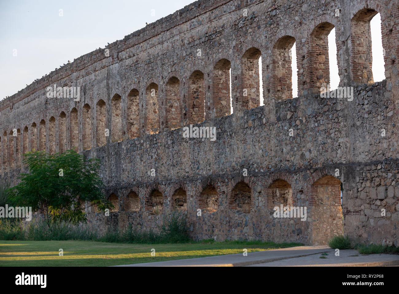 Acueducto San Lazaro in Merida Badajoz aqueduct at Extremadura of Spain - Stock Image