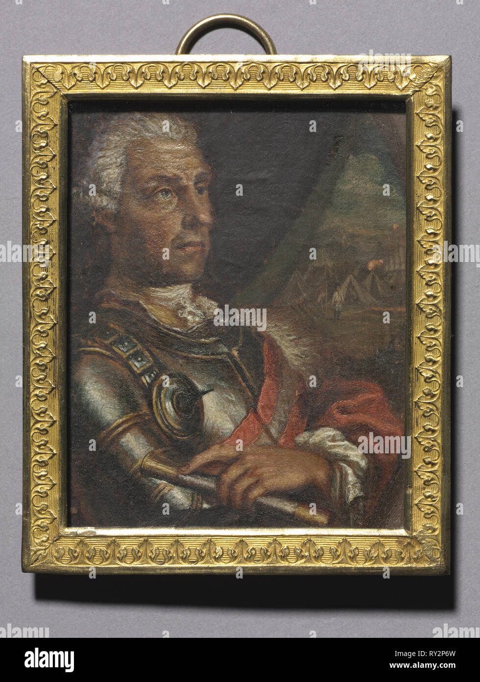 Portrait of Baron Ernst Gideon Freiherr von Laudon, 1800s. Russia, 19th century. Oil on paper mounted on wood; framed: 8.2 x 6.8 cm (3 1/4 x 2 11/16 in.); unframed: 7.2 x 5.8 cm (2 13/16 x 2 5/16 in - Stock Image