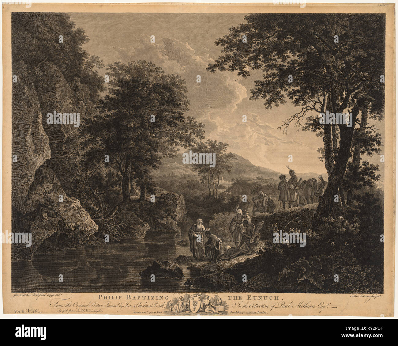 Philip Baptising the Eunuch, 1772. John Browne (British, 1741-1801). Engraving Stock Photo
