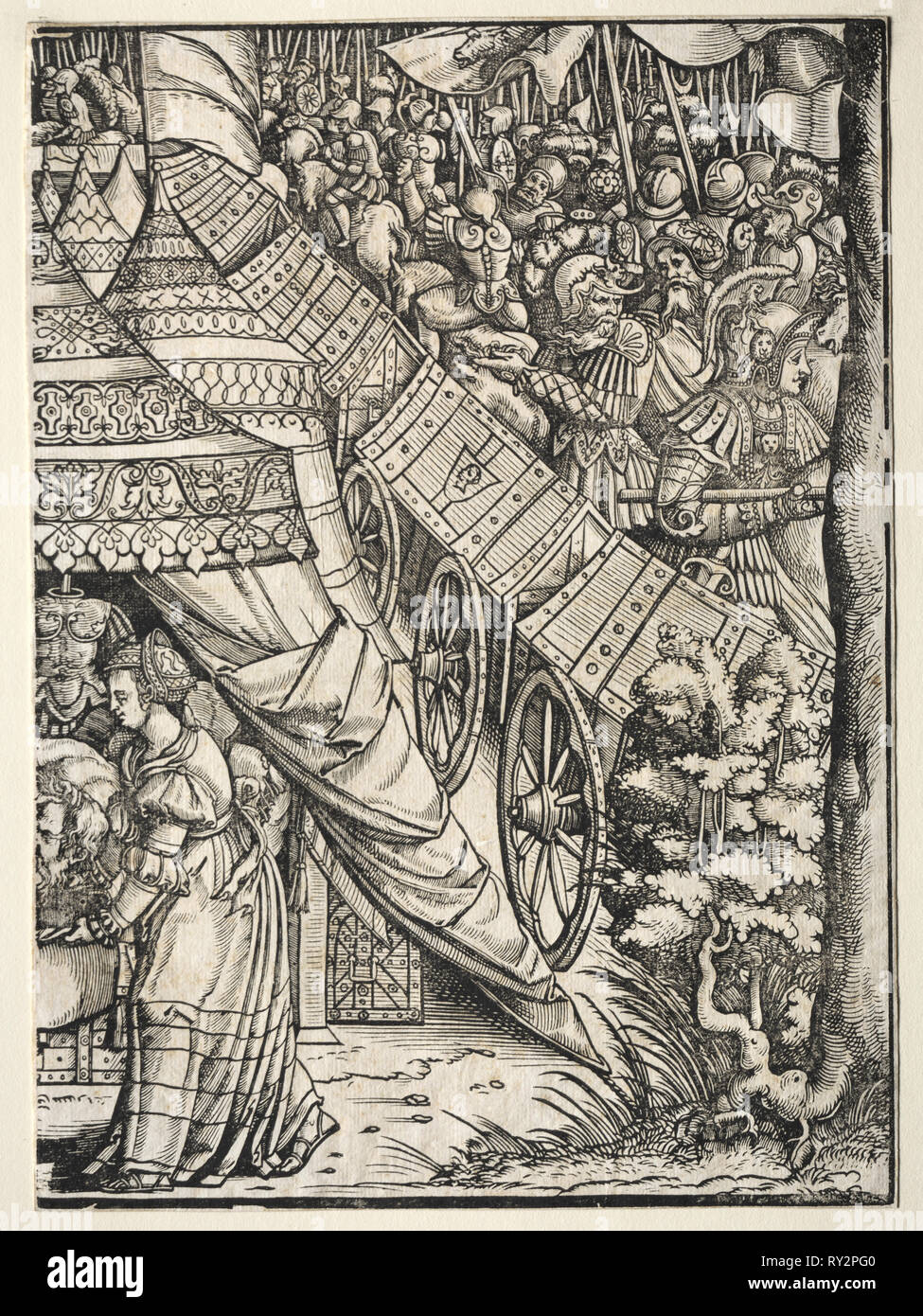 Judith with the Head of Holifernes, 1500s. Germany, 16th century. Woodcut - Stock Image