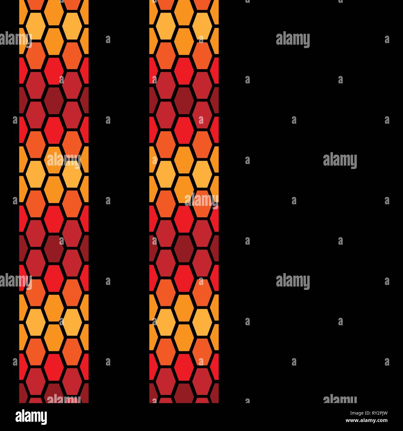 Hot color tire tracks isolated on black background - Stock Vector