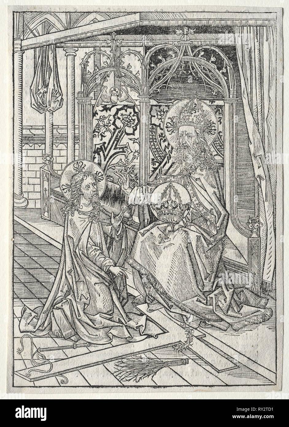 Der Schatzbehalter:  The Trinity, 1491. Michael Wolgemut (German, 1434-1519). Woodcut - Stock Image