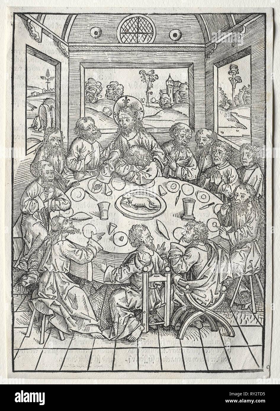 Der Schatzbehalter:  The Last Supper, 1491. Michael Wolgemut (German, 1434-1519). Woodcut - Stock Image