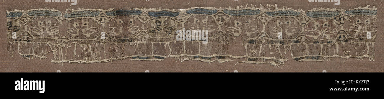 Fragment of a Tiraz-Style Textile, 1094 - 1130. Egypt, Fatimid period, Caliphate of al-Musta'li or al'Amir, AH 487-524, 11th-12th Century. Tapestry (originally inwoven in a tabby ground); linen and silk; overall: 4.2 x 28.7 cm (1 5/8 x 11 5/16 in Stock Photo
