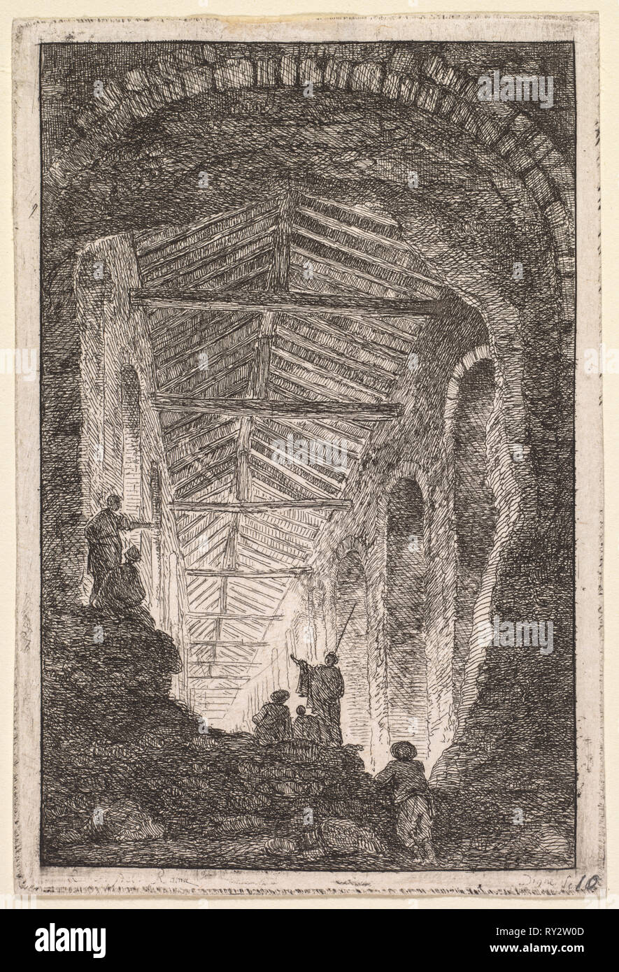 Evenings in Rome:  The Antique Gallery, 1763-1764. Hubert Robert (French, 1733-1808). Etching; platemark: 13.8 x 9.3 cm (5 7/16 x 3 11/16 in.); border: 13.1 x 8.4 cm (5 3/16 x 3 5/16 in - Stock Image