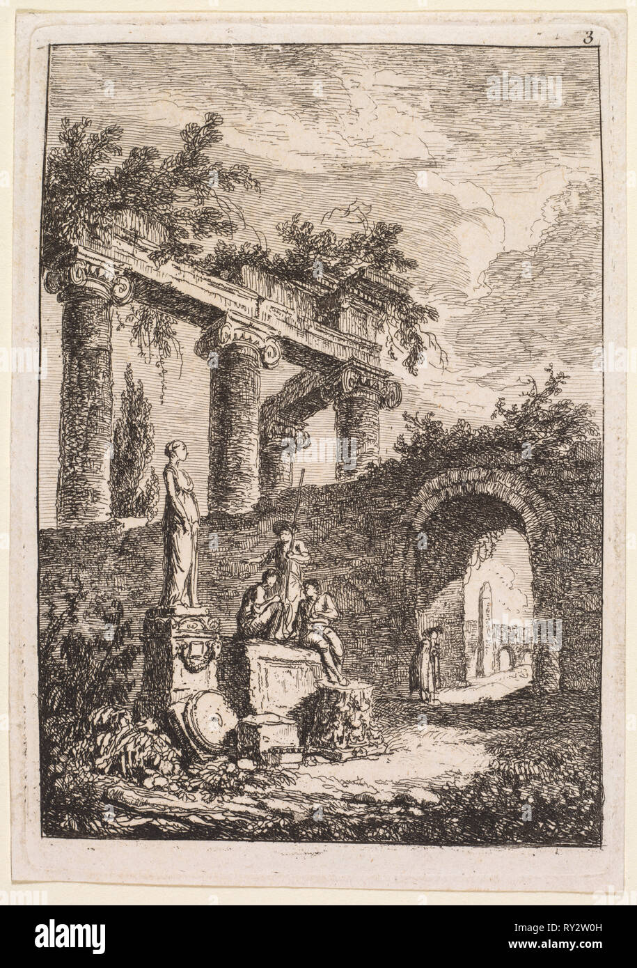 Evenings in Rome:  The Statue in Front of Ruins, 1763-1764. Hubert Robert (French, 1733-1808). Etching; platemark: 13.5 x 9.4 cm (5 5/16 x 3 11/16 in.); border: 12.7 x 9 cm (5 x 3 9/16 in - Stock Image