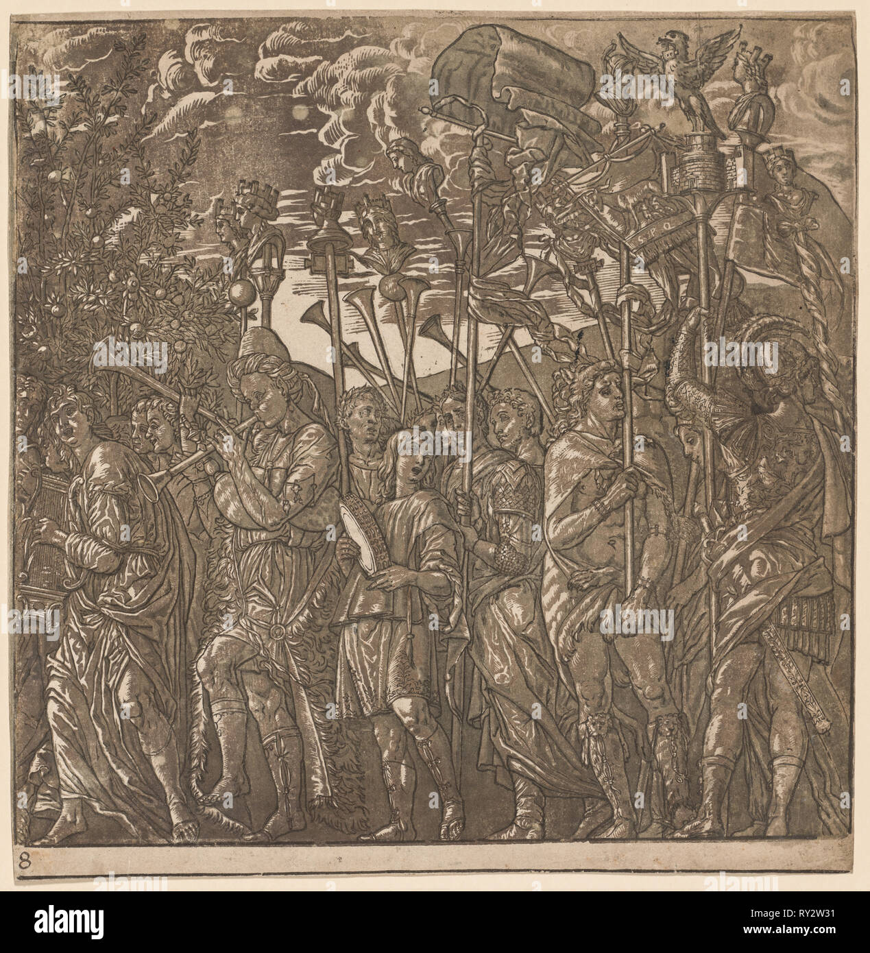 The Triumph of Julius Caesar: Soldiers Carrying Banners and Standards, 1593-99. Andrea Andreani (Italian, about 1558–1610), after Andrea Mantegna (Italian, 1431-1506). Chiaroscuro woodcut - Stock Image