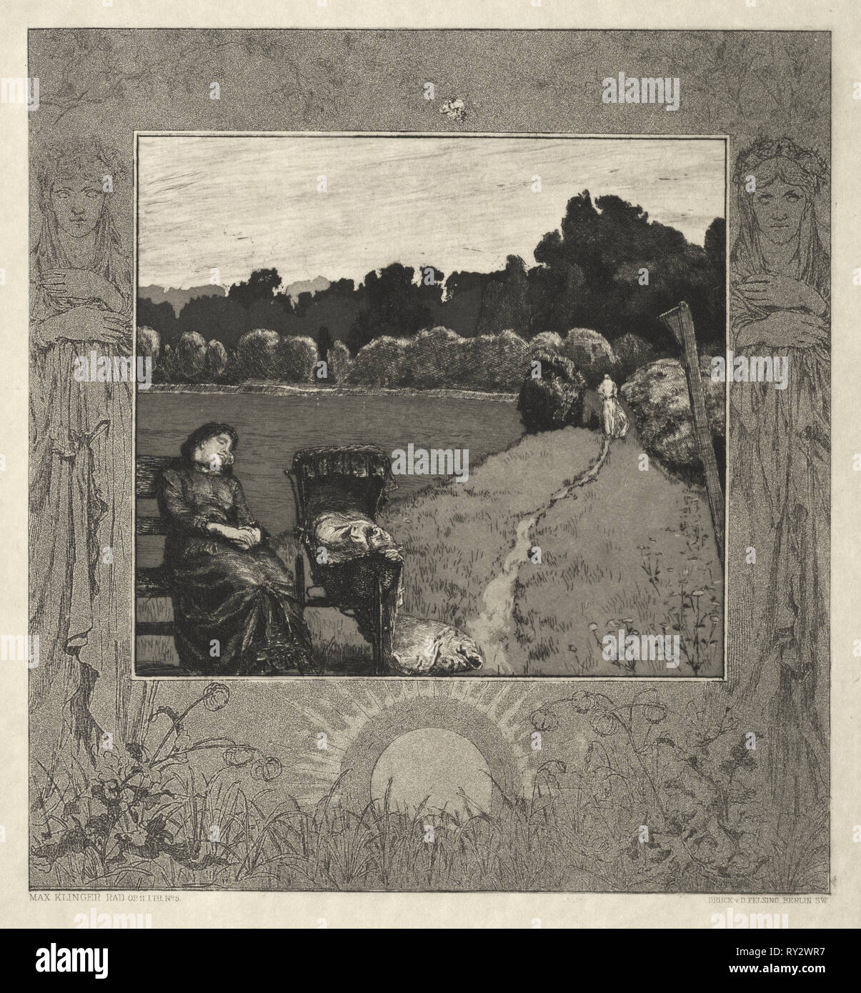Child, from On Death, Part I, Opus XI (Kind, Vom Tode, Erster Teil, Opus XI), 1889. Max Klinger (German, 1857-1920). Etching and aquatint - Stock Image