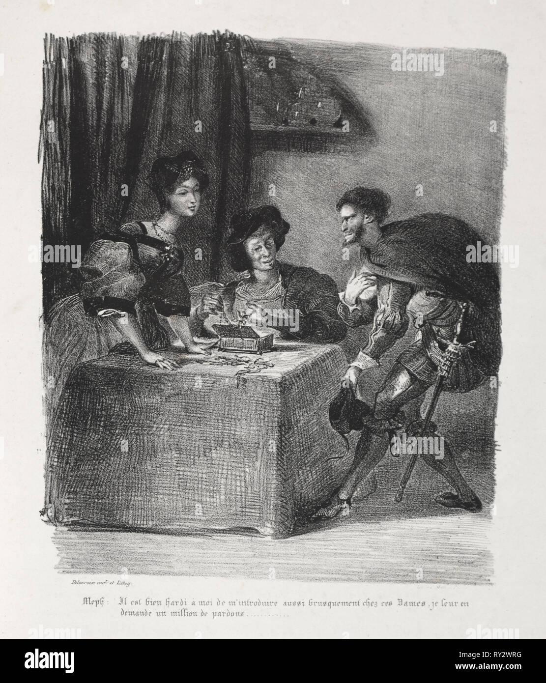 Faust: Tragédie de M. de Goethe, translated into French by Albert Stapfer.: Illustrations for Faust: Méphistophelés is at Marthe, 1828. Eugène Delacroix (French, 1798-1863), Chez Ch. Motte, Éditeur, distributed by Chez Sautelet, Libraire. Lithograph - Stock Image