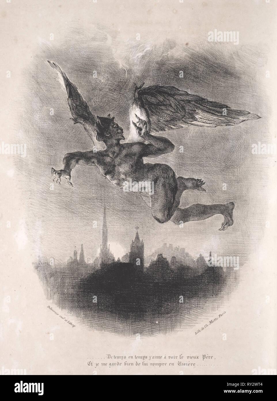 Faust: Tragédie de M. de Goethe, translated into French by Albert Stapfer.: Illustrations for Faust:  Méphistophélés in the air, 1828. Eugène Delacroix (French, 1798-1863), Chez Ch. Motte, Éditeur, distributed by Chez Sautelet, Libraire. Lithograph - Stock Image