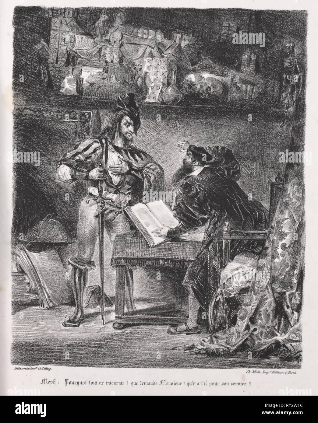 Faust: Tragédie de M. de Goethe, translated into French by Albert Stapfer.: Illustrations for Faust:  Méphistophélés visits Faust, 1828. Eugène Delacroix (French, 1798-1863), Chez Ch. Motte, Éditeur, distributed by Chez Sautelet, Libraire. Lithograph - Stock Image