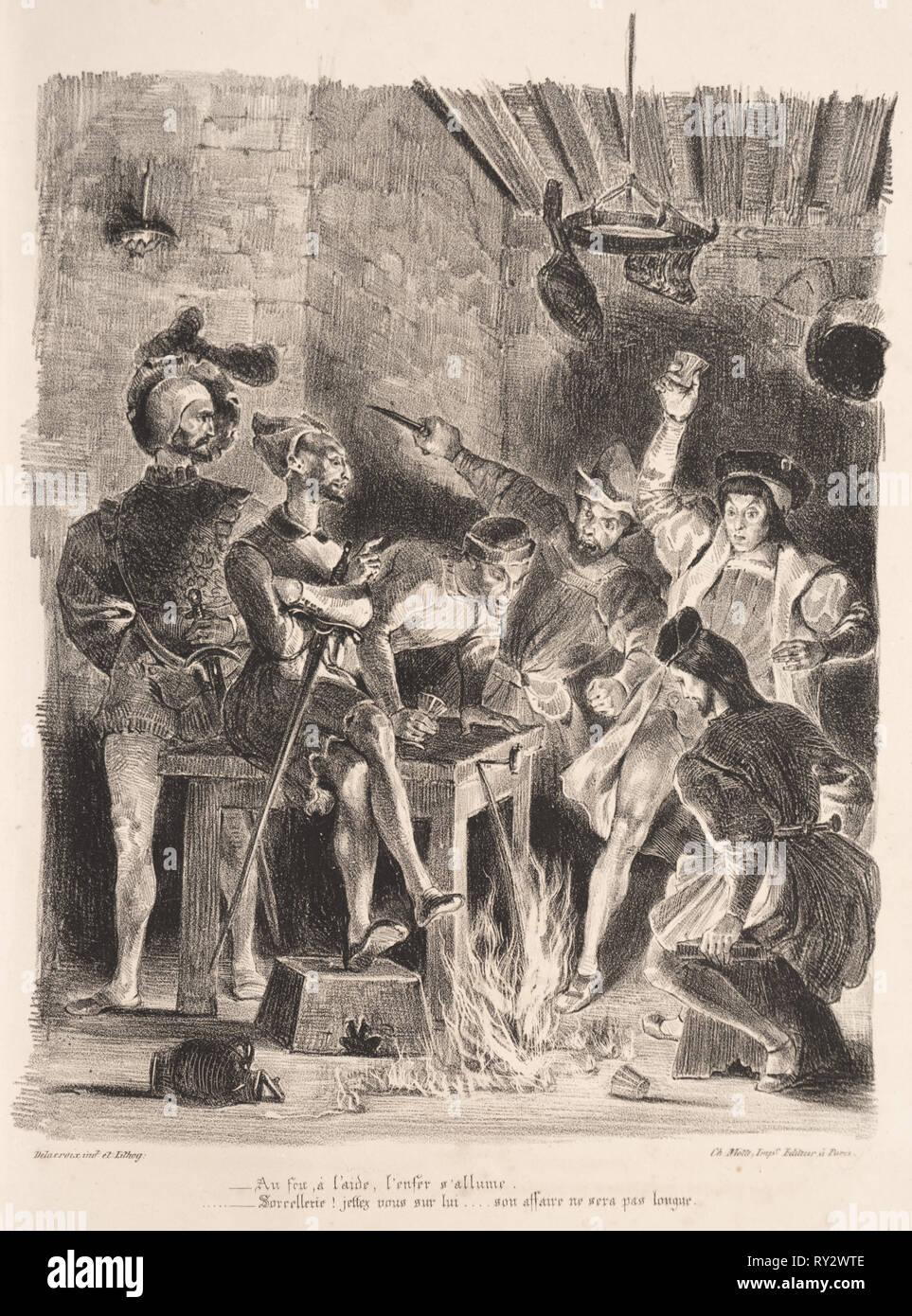 Faust: Tragédie de M. de Goethe, translated into French by Albert Stapfer.: Illustrations for Faust:  Méphistophélés in the tavern of the students, 1828. Eugène Delacroix (French, 1798-1863), Chez Ch. Motte, Éditeur, distributed by Chez Sautelet, Libraire. Lithograph - Stock Image