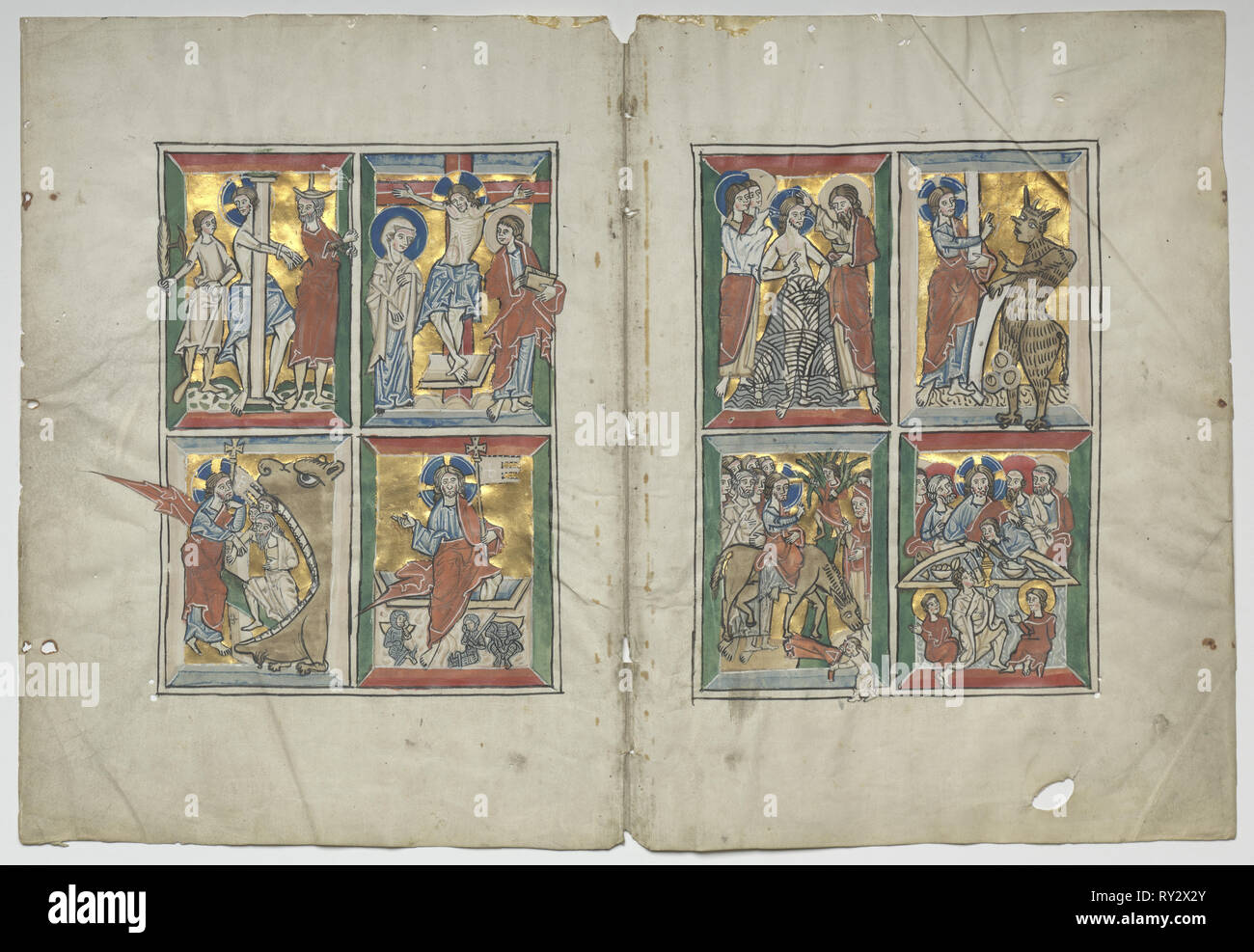 Bifolio with Scenes from the Life of Christ, 1230-1240. Germany, Lower Saxony (Diocese of Hildesheim), Braunschweig(?), 13th century. Tempera, and gold on vellum; sheet: 31 x 22.5 cm (12 3/16 x 8 7/8 in.); framed: 48.3 x 63.5 cm (19 x 25 in.); overall: 30.7 x 45.2 cm (12 1/16 x 17 13/16 in.); matted: 40.6 x 55.9 cm (16 x 22 in Stock Photo