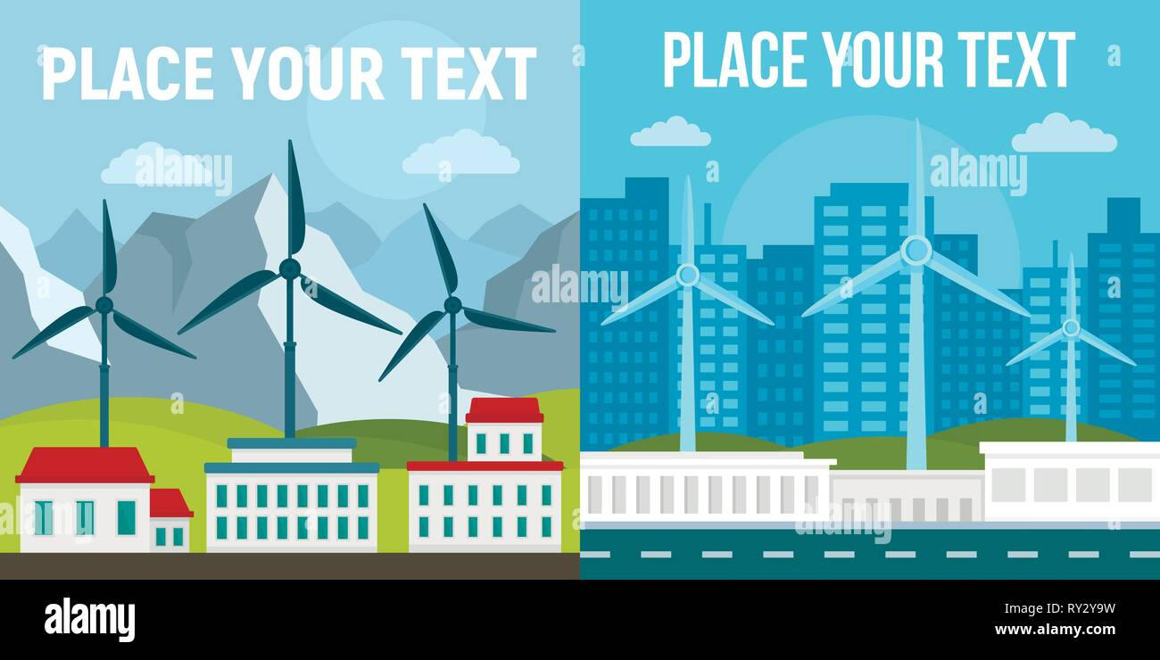 City wind turbine banner set. Flat illustration of city wind turbine vector banner set for web design - Stock Vector