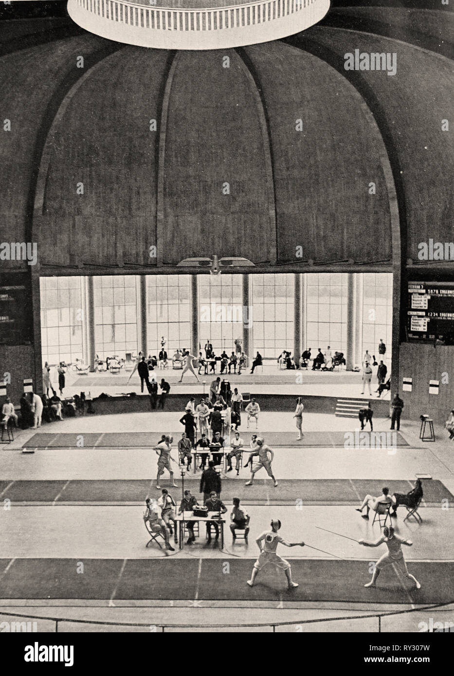 1936 Olympic Games Berlin - Fencing in the Kuppelsaal at the 1936 Berlin Olympic Games Stock Photo