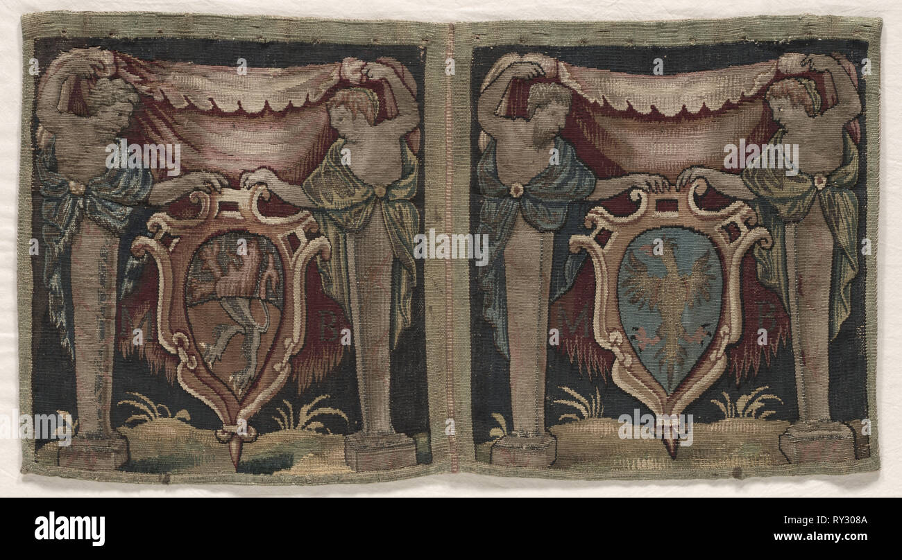 Fragment of Two-Sectioned Tapestry Border, 1500s. England ?, 16th century. Tapestry weave: wool, silk, and gold filé; overall: 31.8 x 61 cm (12 1/2 x 24 in - Stock Image