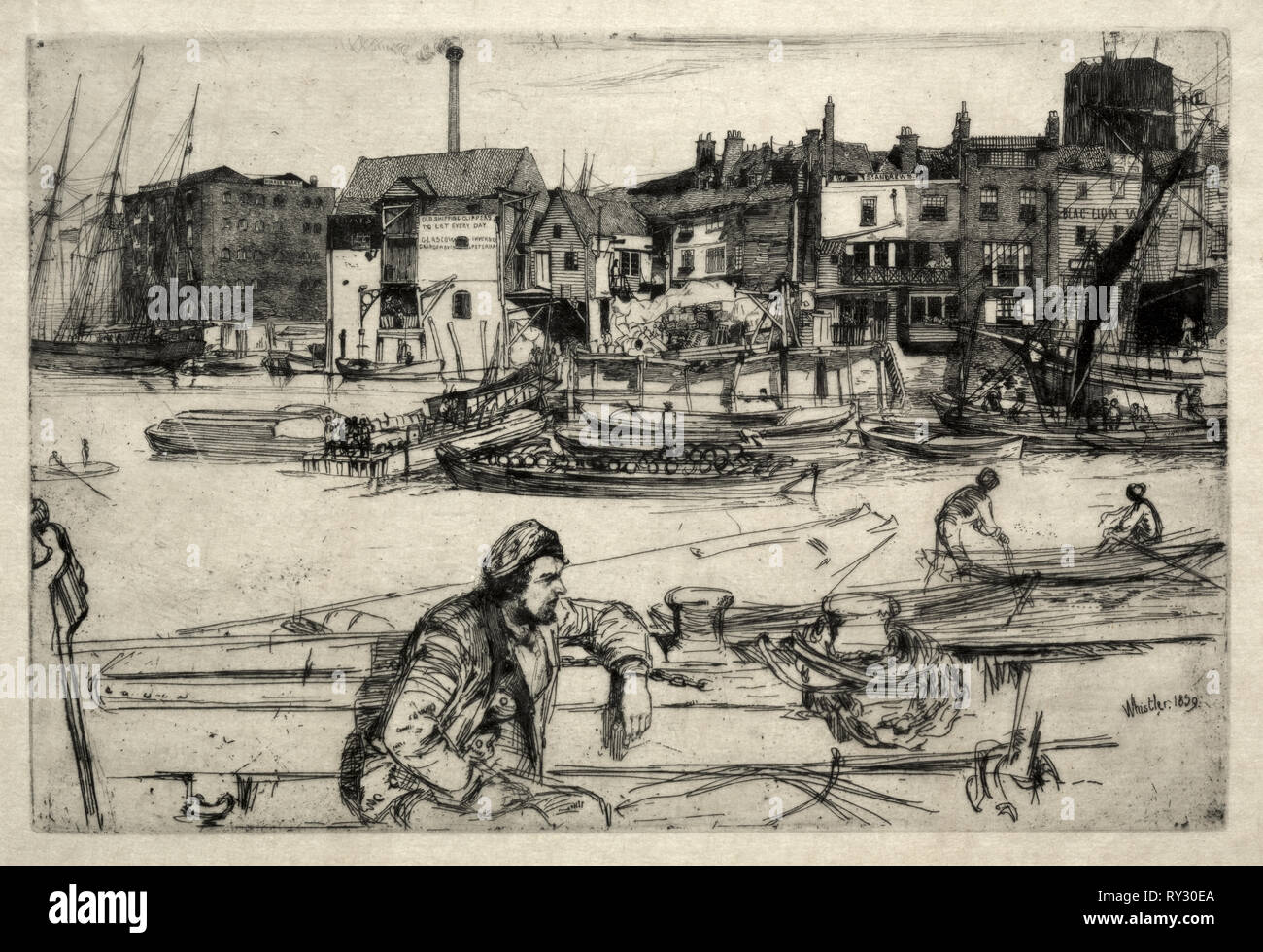 Black Lion Wharf, 1859. James McNeill Whistler (American, 1834-1903). Etching - Stock Image