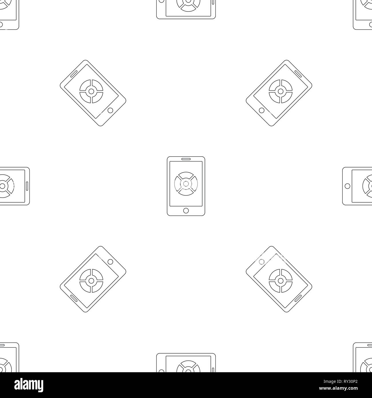 Smartphone drone control pattern seamless vector repeat geometric for any web design - Stock Image