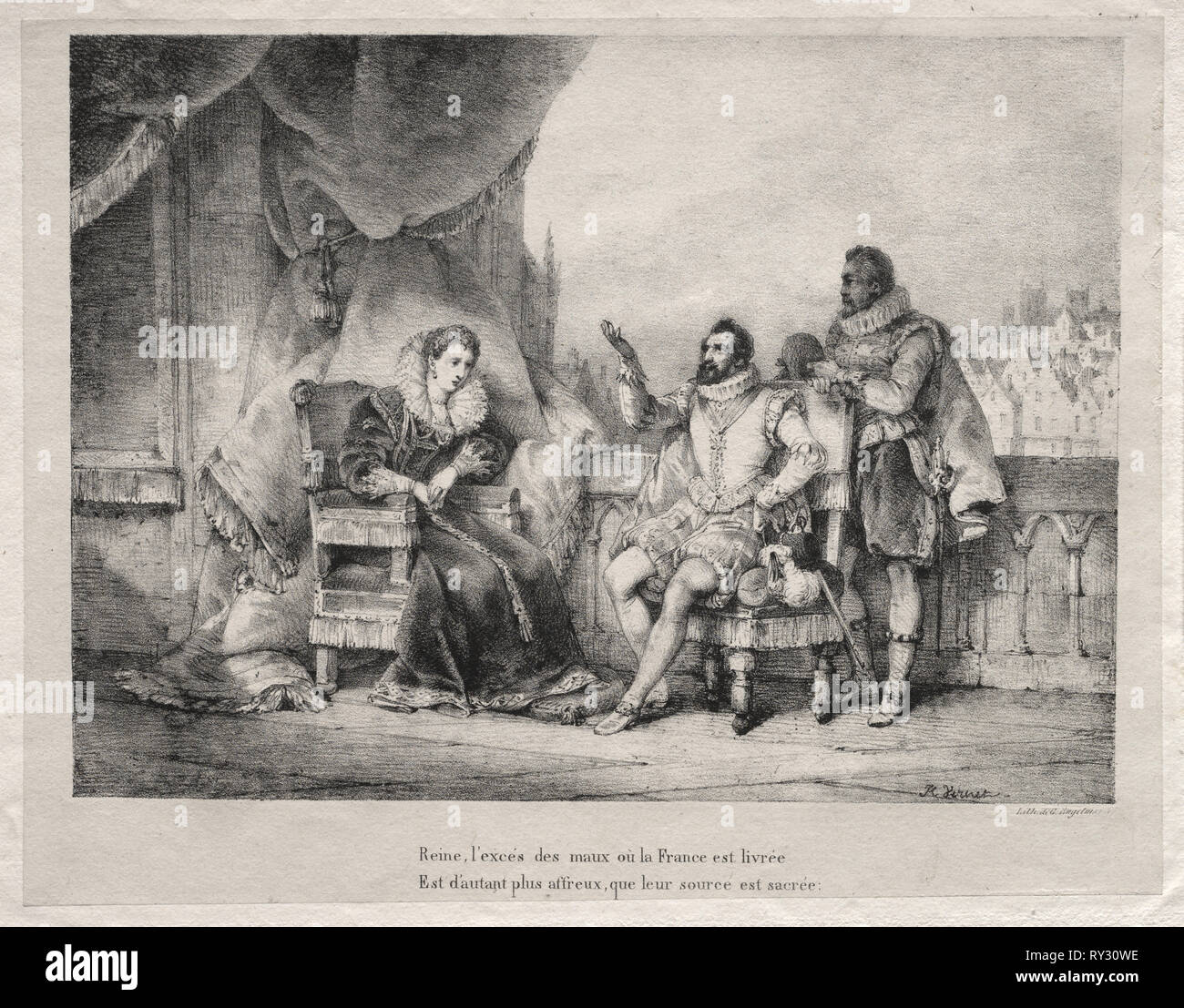 Marie de Medici and Henry IV of France. Horace Vernet (French, 1789-1863). Lithograph - Stock Image