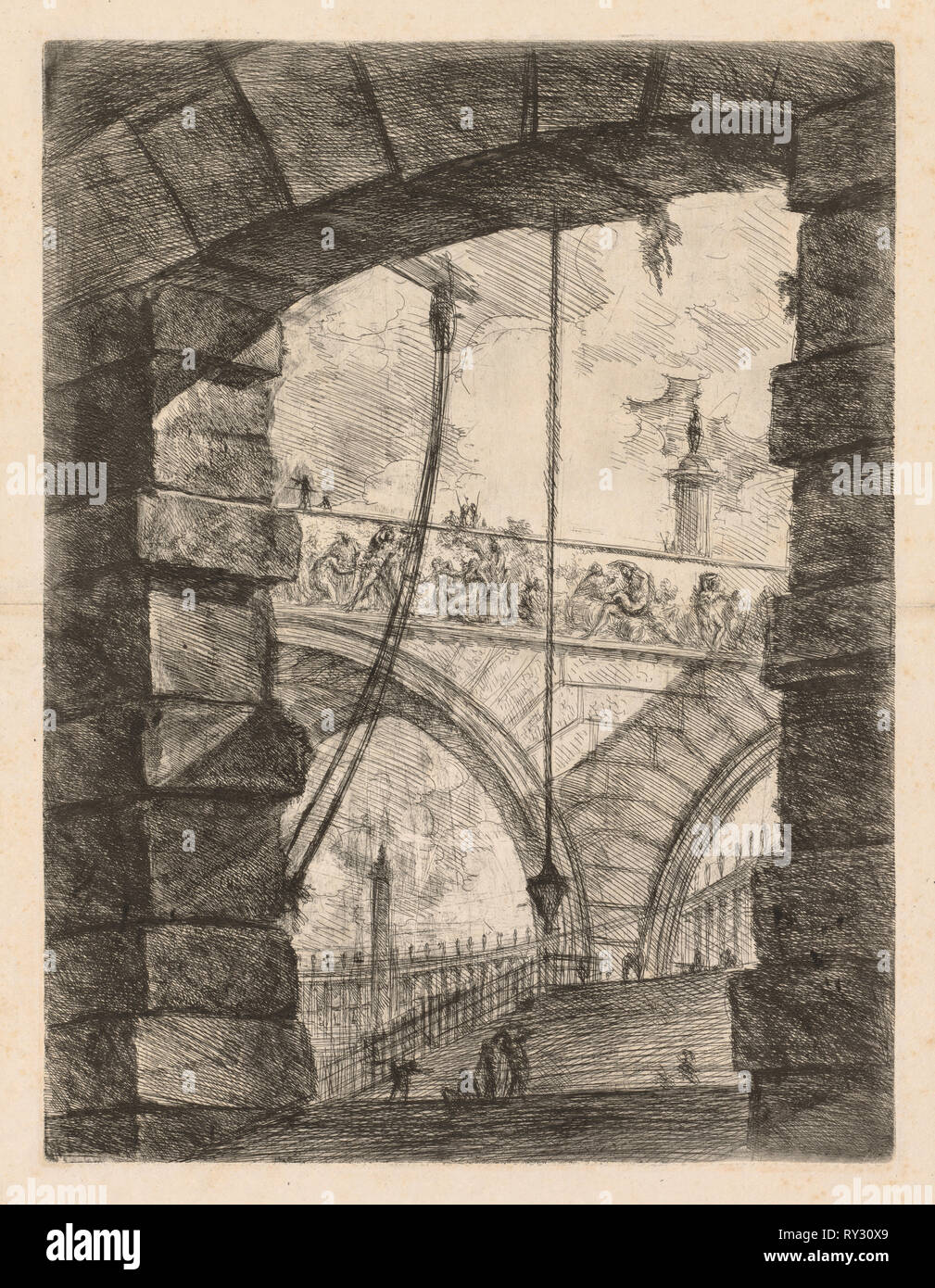 The Prisons:  A Lofty Arch with a Frieze, 1745-1750. Giovanni Battista Piranesi (Italian, 1720-1778). Etching - Stock Image