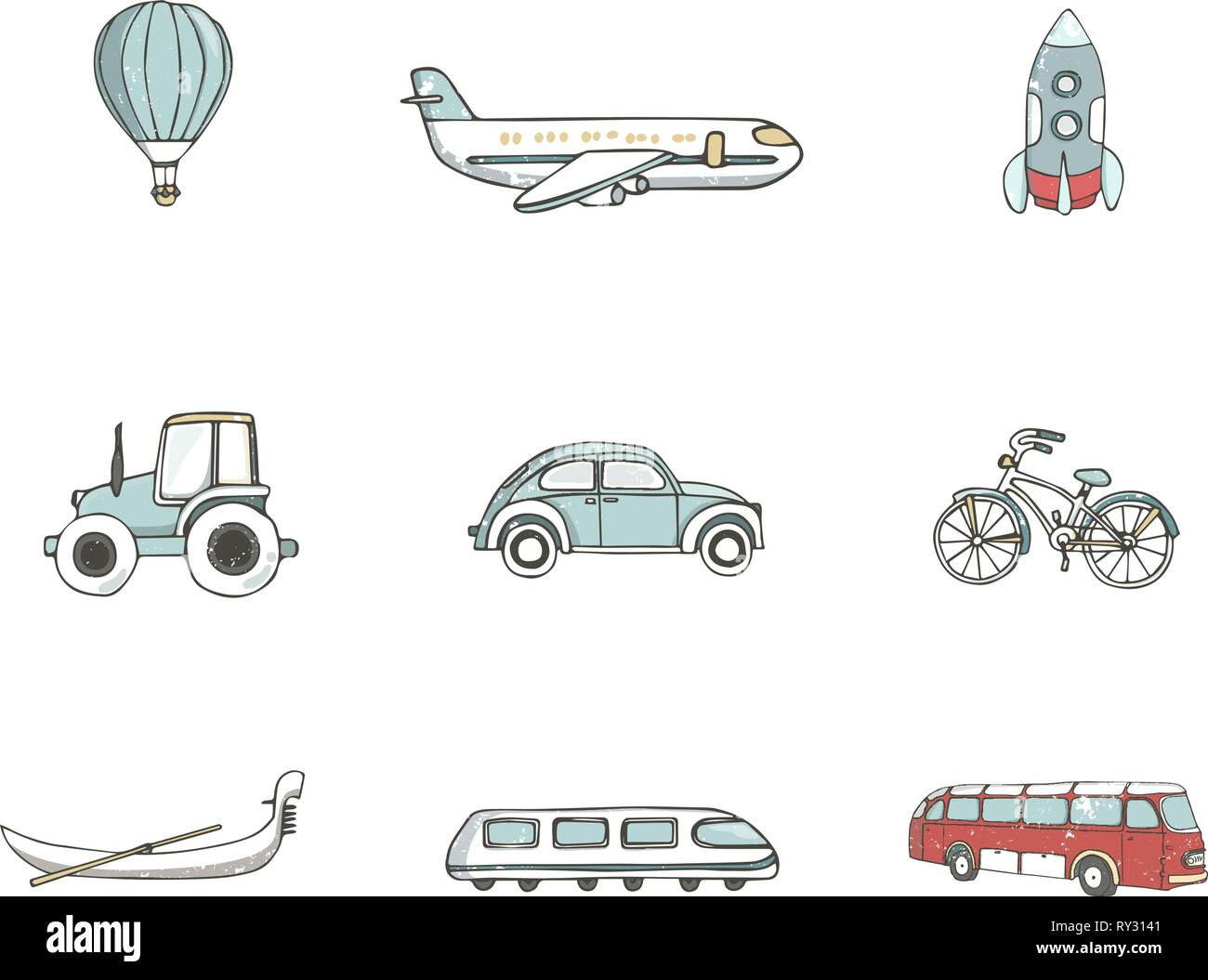 Transport 8 icons. Trasportation Vintage Flat color Concept. Airplane, car, bike. Hand drawn illustration, grunge style texture clip art on white - Stock Vector