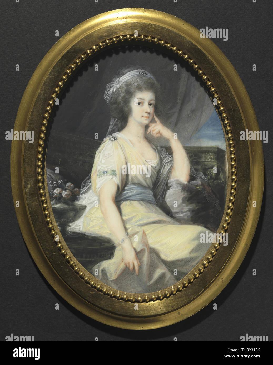 Portrait of Maria Wilhelmine, Countess Thun-Hohenstein, c. 1790. Heinrich Friedrich Füger (German, 1751-1818). Watercolor on ivory in an ormolu frame; framed: 22.4 x 17.5 cm (8 13/16 x 6 7/8 in.); unframed: 17.5 x 12.7 cm (6 7/8 x 5 in Stock Photo