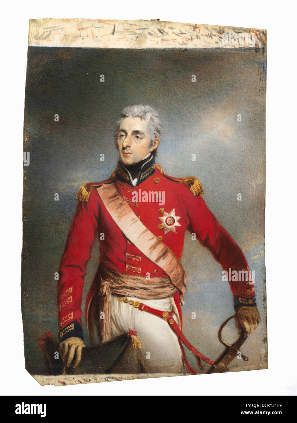 Portrait of Arthur Wellesley, later 1st Duke of Wellington, c. 1806-1807. Attributed to John Wright (British, 1745-1820).  watercolor on ivory in a gilt wood frame; framed: 22 x 18.2 cm (8 11/16 x 7 3/16 in.); unframed: 18.7 x 14 cm (7 3/8 x 5 1/2 in - Stock Image