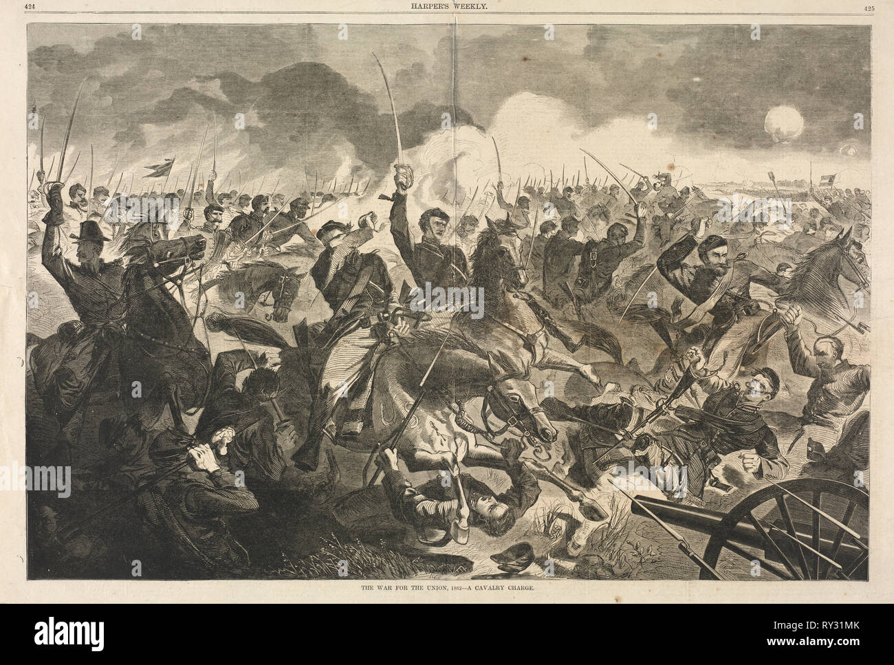 The War for the Union, 1862 - A Cavalry Charge, 1862. Winslow Homer (American, 1836-1910). Wood engraving - Stock Image