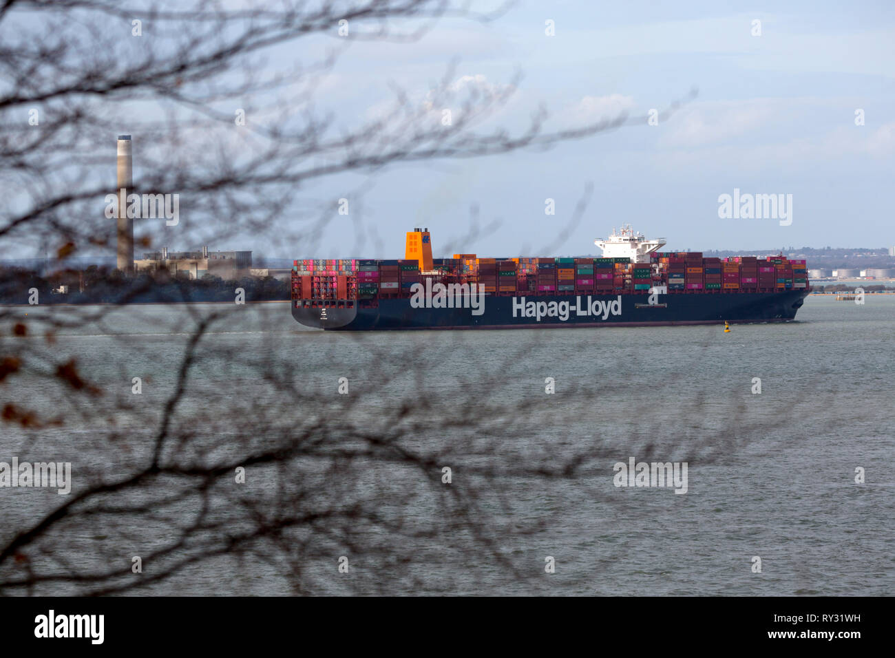 terminal,Aerial,view,Hapag-Lloyd,Container,Ship,Afif,home,port,Majuro,The Solent,Southampton,Cowes,Isle of Wight, - Stock Image