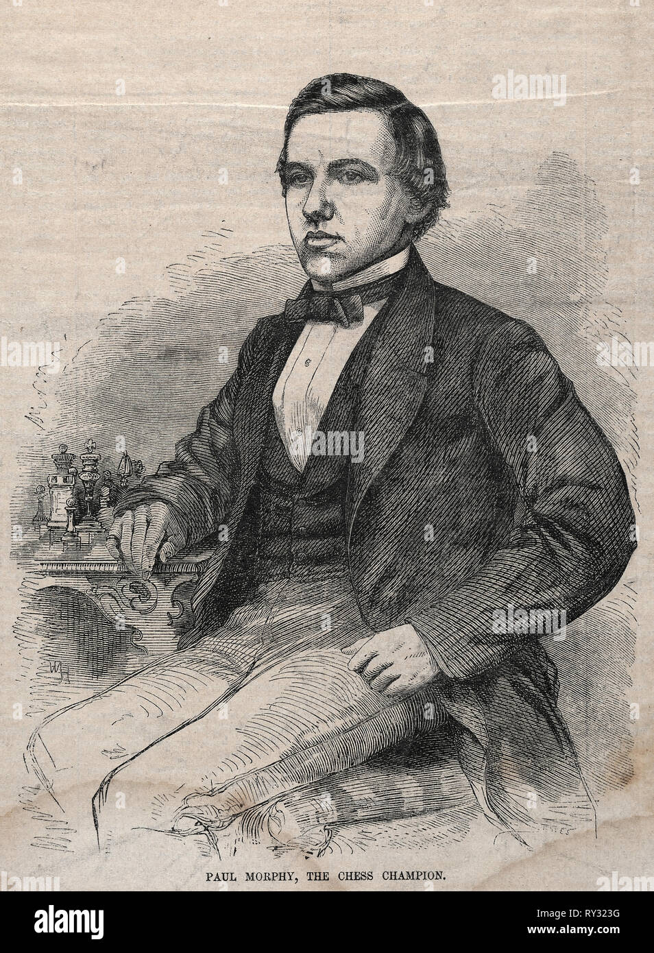 Paul Morphy, The Chess Champion, 1859. Winslow Homer (American, 1836-1910). Wood engraving - Stock Image