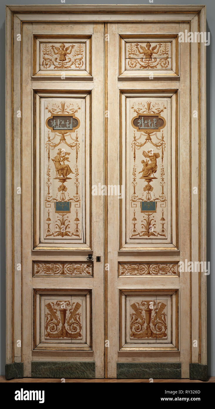 Double-Leaf Doors, 1790s. Pierre Rousseau (French, 1751-1829). Oil on wood; framed: 287 x 154 x 6 cm (113 x 60 5/8 x 2 3/8 in.); unframed: 274 x 63 cm (107 7/8 x 24 13/16 in - Stock Image