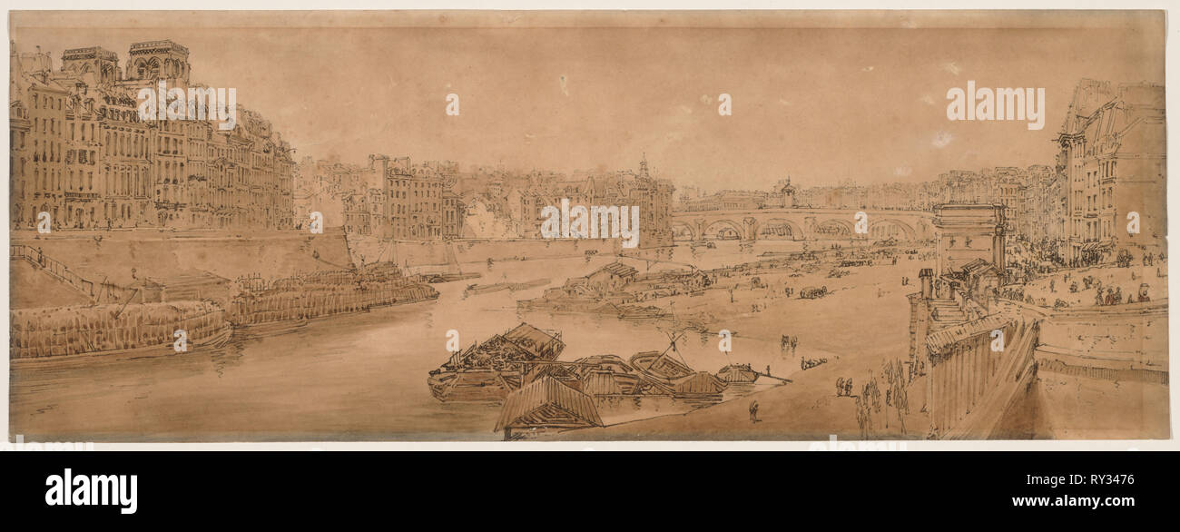 A Selection of Twenty of the Most Picturesque Views in Paris:  View of the City with the Louvre taken from the Pont Marie, 1802. Thomas Girtin (British, 1775-1802). Soft-ground etching with bistre wash - Stock Image