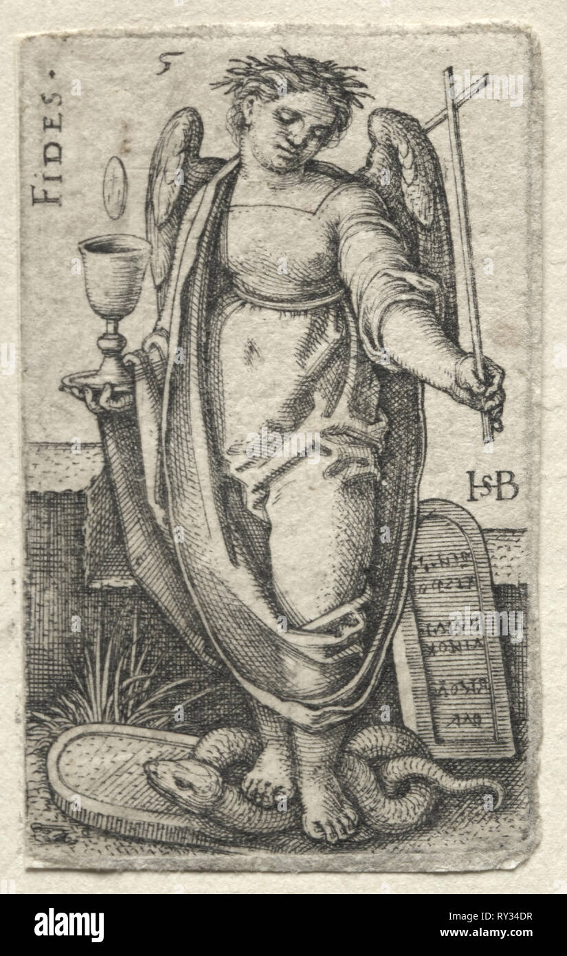 The Knowledge of God and the Seven Cardinal Virtues:  Fidelity - Fides. Hans Sebald Beham (German, 1500-1550). Engraving - Stock Image