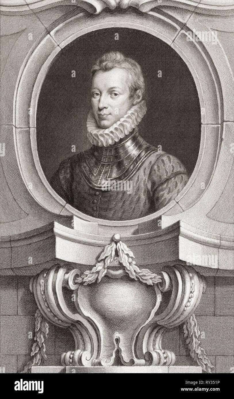 Sir Philip Sidney, 1554 to 1586.  Elizabethan poet, soldier and courtier.  From the 1813 edition of The Heads of Illustrious Persons of Great Britain, Engraved by Mr. Houbraken and Mr. Vertue With Their Lives and Characters. - Stock Image