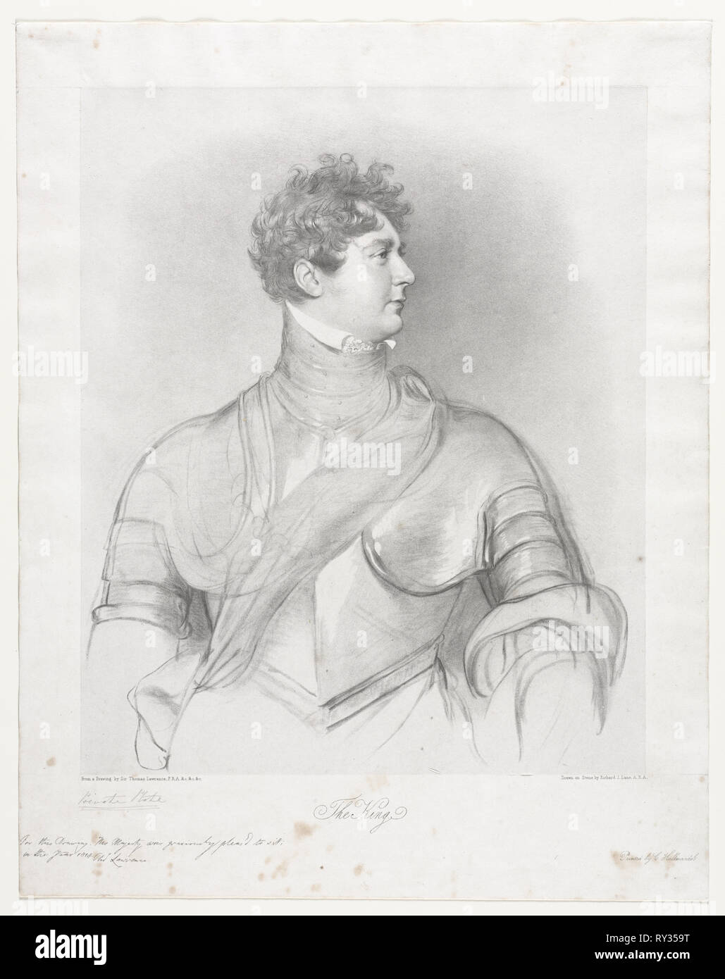 The King, George IV of Great Britain. Richard James Lane (British, 1800-1872). Lithograph - Stock Image