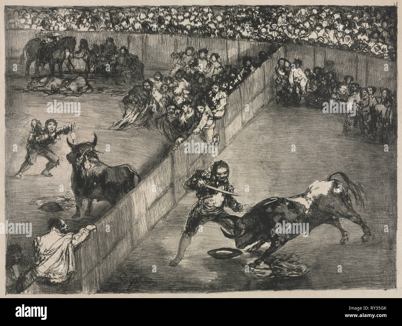 The Bulls of Bordeaux:  Bullfight in a Divided Ring, 1825. Francisco de Goya (Spanish, 1746-1828). Lithograph - Stock Image