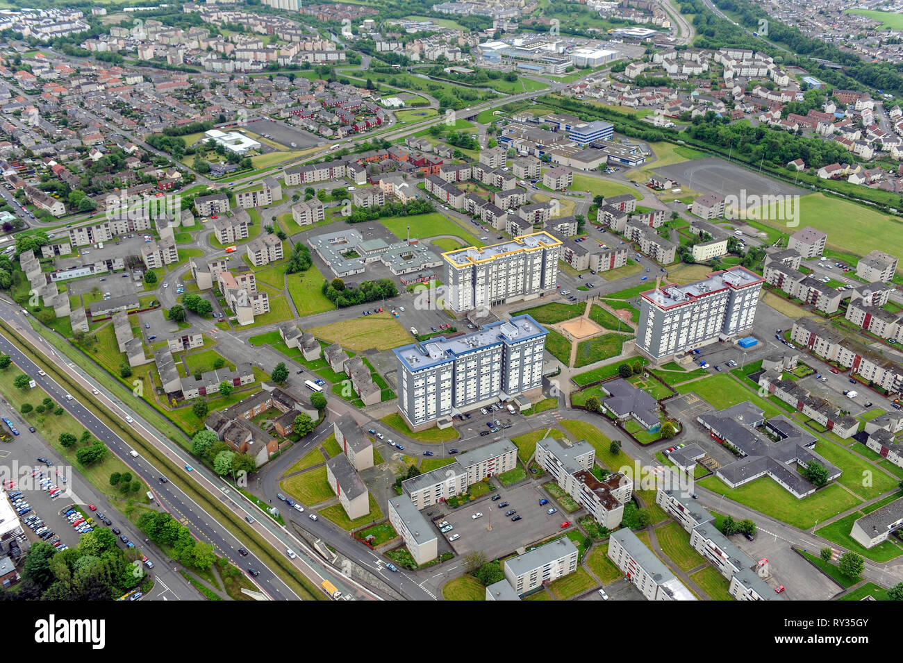 Aerial view of the Wester Hailes housing estate, south west edinburgh. - Stock Image